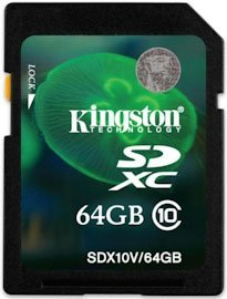 Карта памяти Kingston SDXC 64Gb Class 10 (SDX10V/64GB)