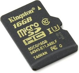 Карта памяти microSDHC 16GB Class 10 Kingston UHS-I U3 90 MBs (SDCG/16GBSP)